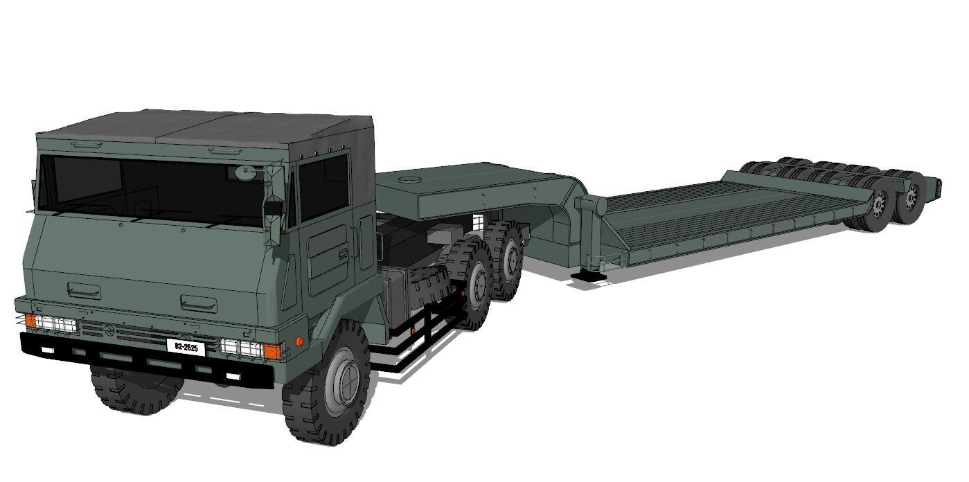 トラック+低床トレーラ