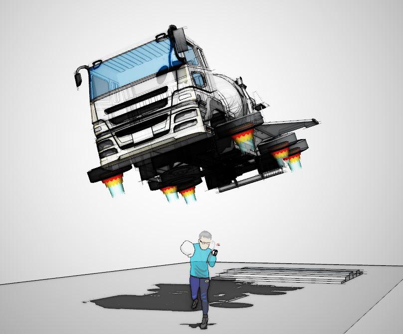 飛ぶコンクリート車