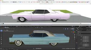 Sketch up×blender(Cadillac soft top)4