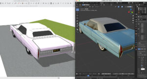 Sketch up×blender(Cadillac soft top)1